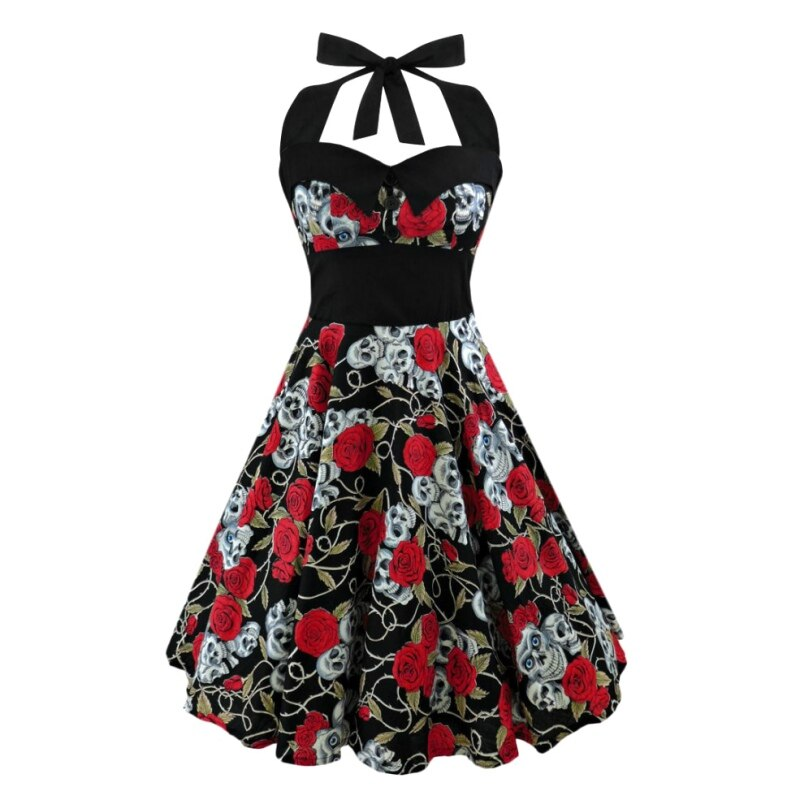 Retro Rockabilly Vintage Style Halter Dress