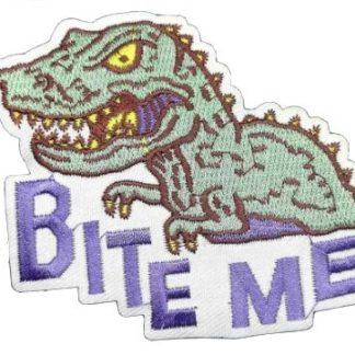 Bite Me Dinosaur Iron-On Patch