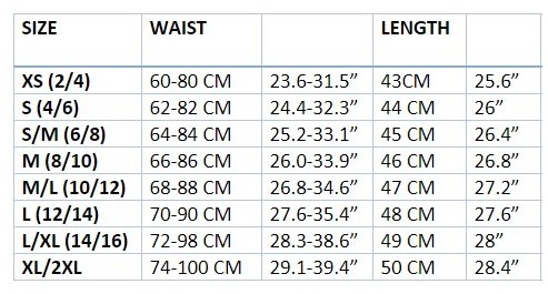 Witchcraft Size Chart