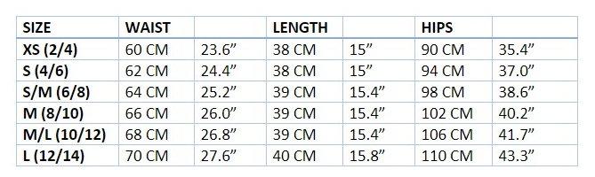 Micro-Mini Size Chart