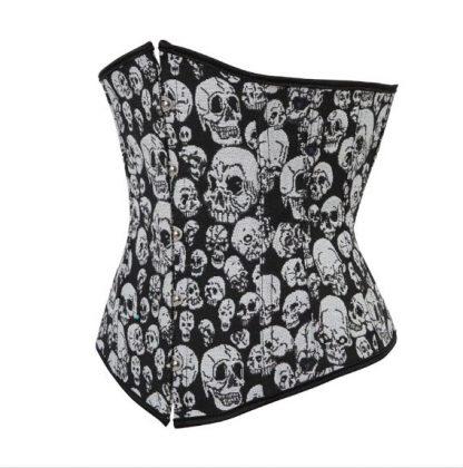 Skulls Underbust Corset - Black & White