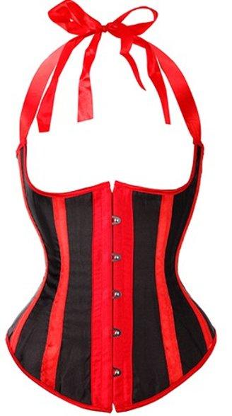 Striped Satin Halter Style Underbust Corset