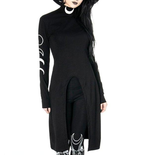 Moon Print High Split Tunic Dress