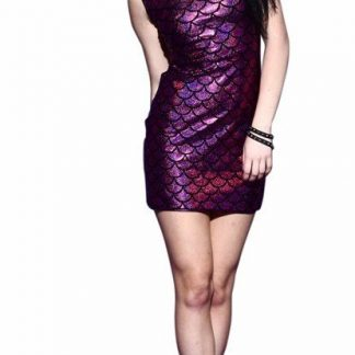 Mermaid Scales Metallic Mini Dress - Purple
