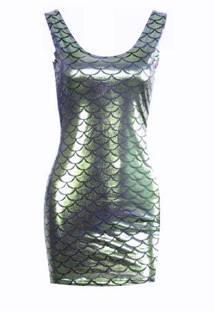 Mermaid Scales Metallic Mini Dress - Silver