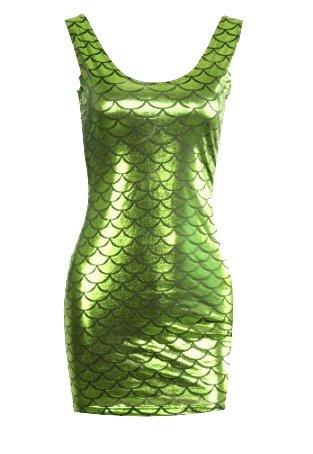 Mermaid Scales Metallic Mini Dress - Green