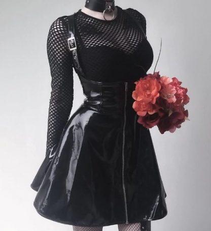 Black Vinyl Jumper Dress