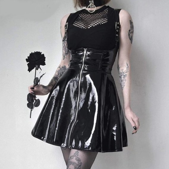Black Vinyl Jumper Dress