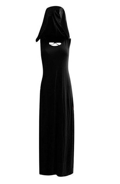 Crisscross Back Pagen Priestess Hooded Maxi Dress