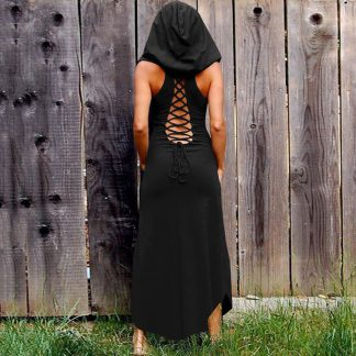 Crisscross Back Pagen Priestess Hooded Maxi Dress