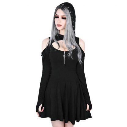 Cold Shoulder Hooded Mini Dress