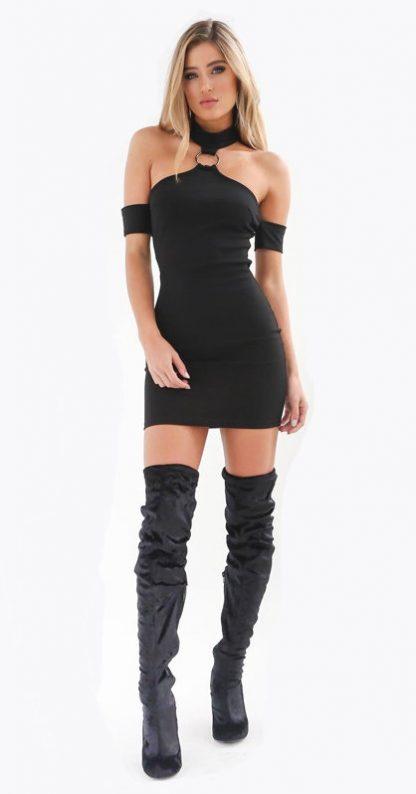 Cold Shoulder Body Con Halter Mini Dress