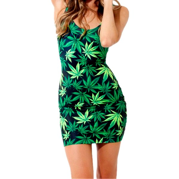 Marijuana Body Con Mini Dress