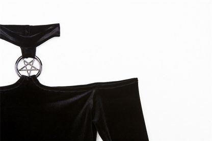 Gothic Black Velveteen Micro Mini Dress