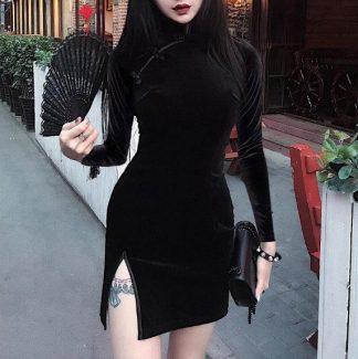Manderin Style Velveteen Mini Dress