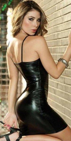 Vinyl Spaghetti Strap Body Con Mini Dress