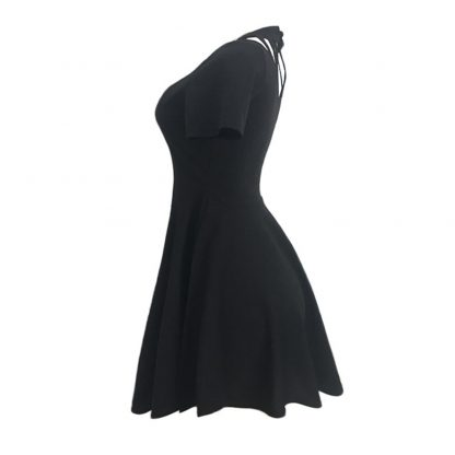 Dressy Cut-Out Neckline Skater Style Dress
