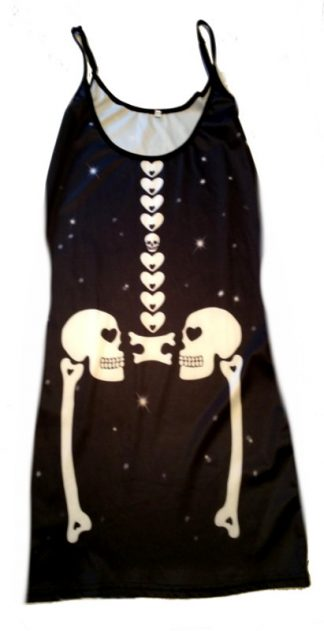 Skull Skeleton Strappy Dress