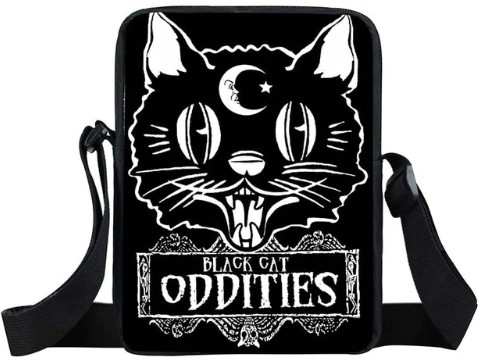 Black Cat Oddities Mini Messenger Bag
