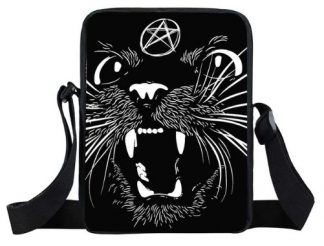 Satanic Black Cat Mini Messenger Bag #2