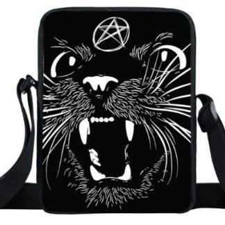 Satanic Black Cat Mini Messenger Bag #2