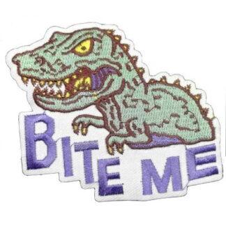 Bite Me T-Rex Dinosaur Iron-On Patch