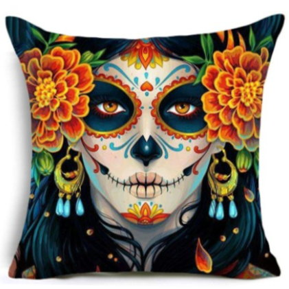 Day of the Dead Sugar Skull Pillow Cover #1