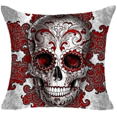 Gothic Sugar Skull Pillow Cover