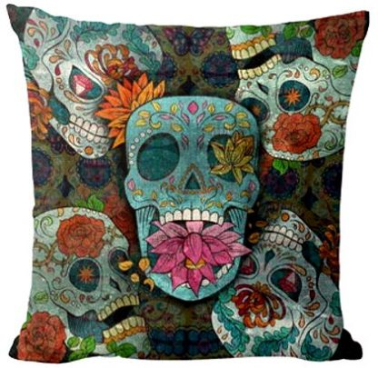 Day of the Dead Sugar Skull Pillow Cover #4