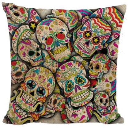 Day of the Dead Sugar Skull Pillow Cover #5