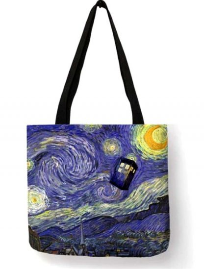 Doctor Who Starry Night Tardis Tote Bag