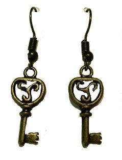 Antique Key Dangle Earrings #3 - Antique Brass