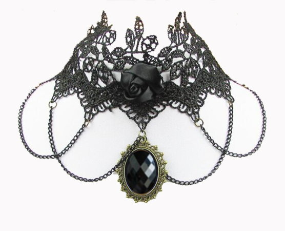 Lace Choker #3 - Black Stone