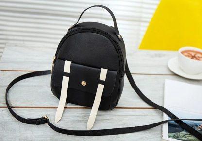 Black & White Mini-Backpack with Earphone Access
