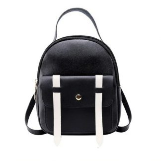 Black & White Mini-Backpack with Earphone Access