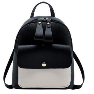 Black & White Mini-Backpack with Earphone Access #2