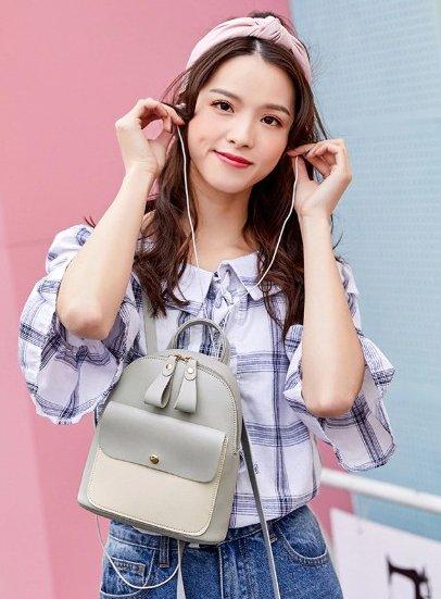 Black & White Mini-Backpack with Earphone Access #2