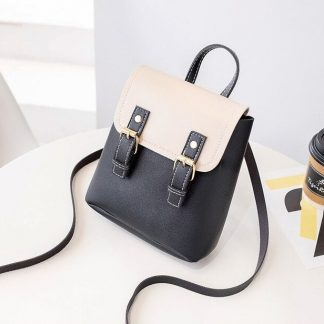 Black & Cream Mini-Backpack with Earphone Access