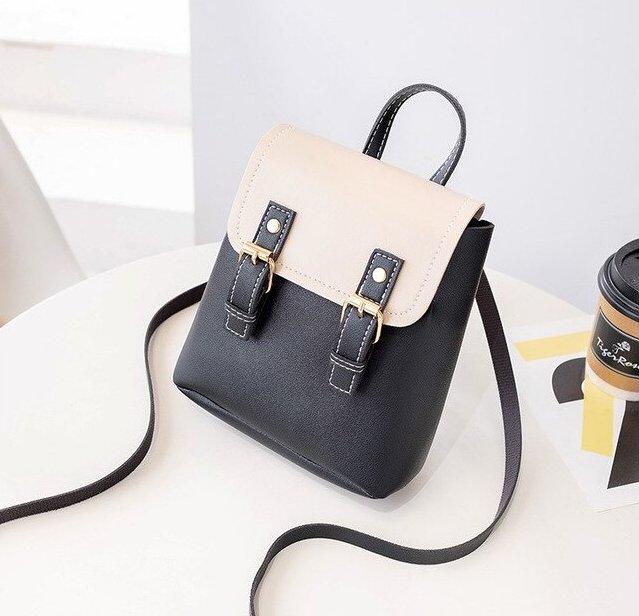 Black & Cream Mini-Backpack with Earphone Access