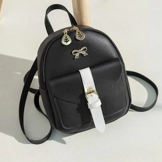 Black & White Mini-Backpack with Earphone Access #3