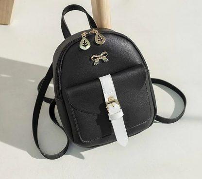 Black & White Mini-Backpack with Earphone Access #3