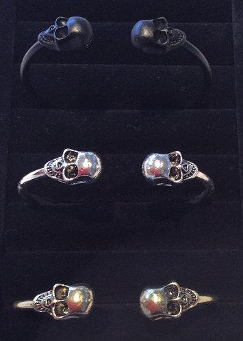 Skull Open Bangle Bracelet - Gold, Silver or Black