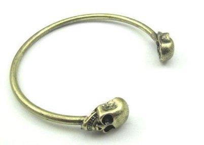 Skull Open Bangle Bracelet - Gold