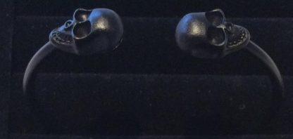 Skull Open Bangle Bracelet - Black