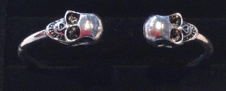 Skull Open Bangle Bracelet - Silver
