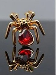 Spider Gold & Red Jewelled Pin