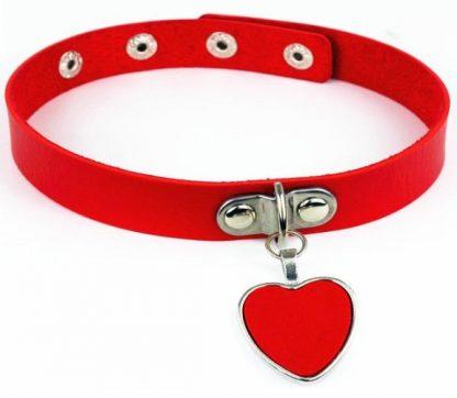 PU Leather Dangling Heart Choker