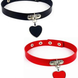 PU Leather Dangling Heart Choker