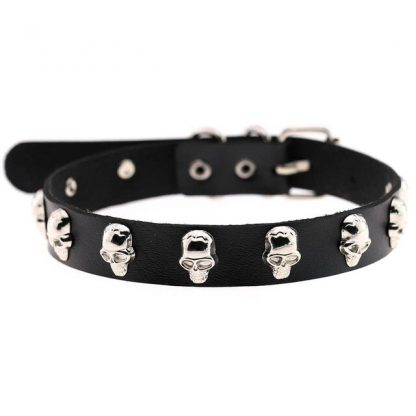 PU Leather Choker - Silver Skulls