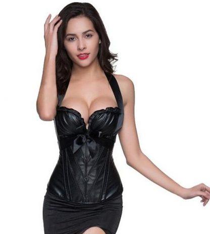 Black Vegan Leather Halter Style Corset